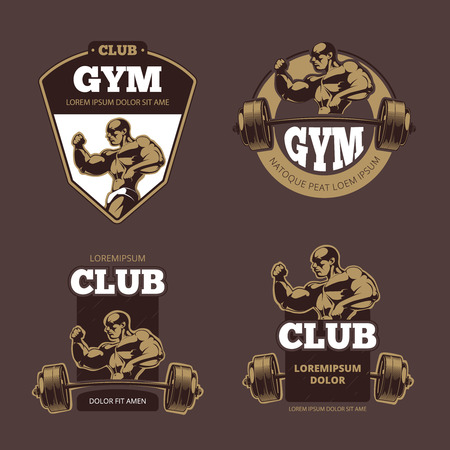 Fitness and bodybuilder sports retro emblems, labels, badges, logos. Retro gym bodybuilding club, sport club gym, label logo bodybuilding gym fitness, gym fitness emblem, vector illustration Stock Photo