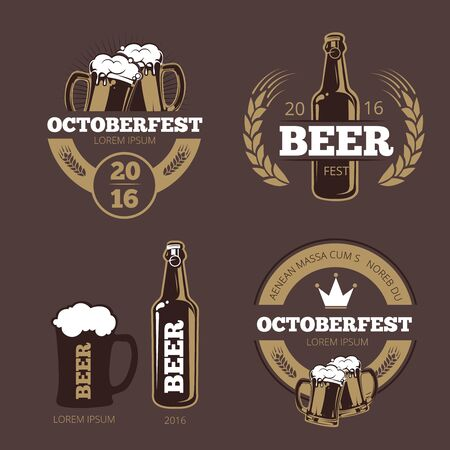 beer house: Beer label templates for beer house, brewing company, pub and bar. Beer logo, icon beverage beer bottle, brewery beer oktoberfest beer, company brewing business. Vector illustration Stock Photo