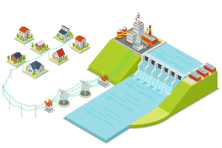 Planta hidroeléctrica. 3D isométrica concepto de electricidad. Energía eléctrica, hidroeléctrica alternativa, turbina hidráulica, ilustración vectorial