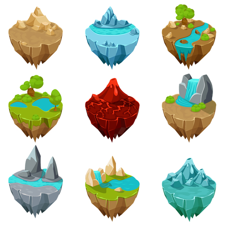 cascade mountains: Isometric game islands vector. Island ground, lava interface, volcano landscape island illustration Illustration