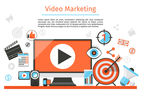 internet marketing: Video marketing. Abstract vector concept background. Goal and target, aim and camera, optimization marketing, internet marketing illustration