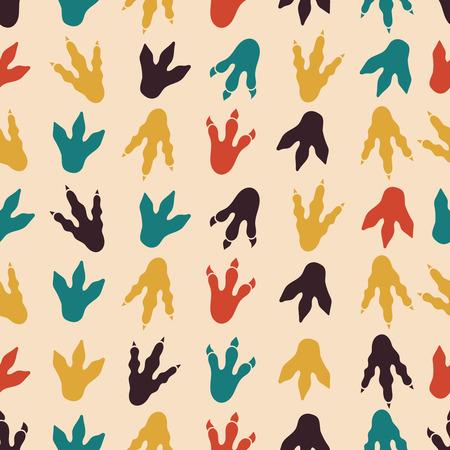 Dinosaur footprints vector seamless pattern. Seamless background footprint, paw footprint mammal, claw predator footprint pattern illustration