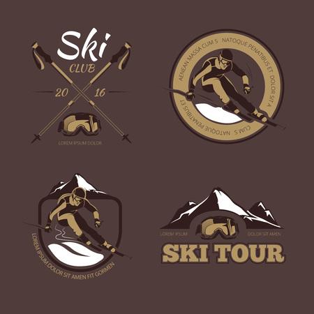 nordic ski: Nordic skiing vector emblems, labels, badges, logos set. Sport skiing logo, skiing badge, skiing emblem illustration Illustration