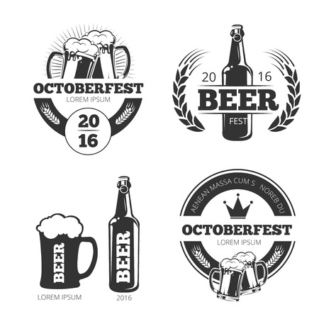 Vintage beer brewery vector emblems, labels, badges, logos set. Emblem beer, badge beer brewery, label brewery beer, beer logo illustration Illustration