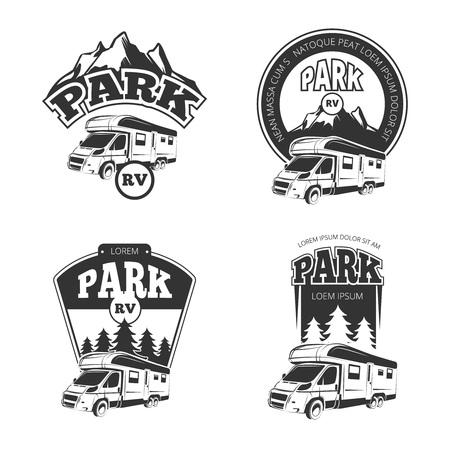 RV およびキャンピングカーはベクトル ラベル、バッジ エンブレム、ロゴのセットです。キャンピングカー公園ラベル、rv パーク エンブレム、公園 r  イラスト・ベクター素材
