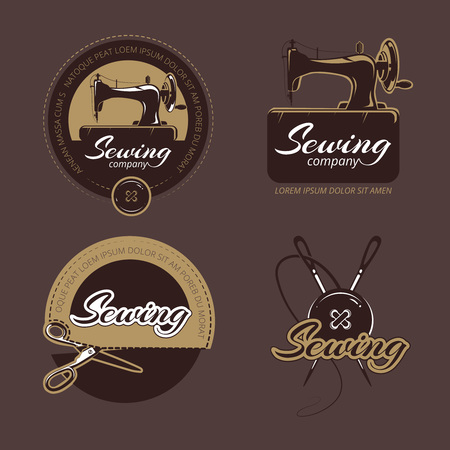 sew: Retro sewing and tailoring vector logo, labels and badges set. Logo sewing craft, handmade sewing, sewing hobby label, workshop sewing, machine sew illustration Illustration