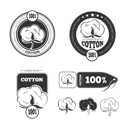 Algodón vector de la insignia de la vendimia, etiquetas e insignias conjunto. etiqueta de algodón, algodón insignia, algodón logotipo de la vendimia ilustración Logos