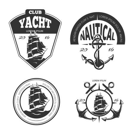 ビンテージ航海ベクトルのロゴ、ラベル、バッジ。バッジの航海、レトロなラベル航海、アンカー ヴィンテージ、ロゴの航海、セーリング ヨット