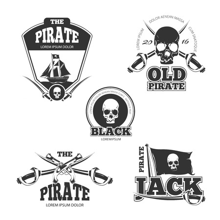 sea robber: Pirate logo, labels and badges. Vintage vector collection. Pirate stamp, badge and label pirate, vintage emblem pirate, skull danger illustration