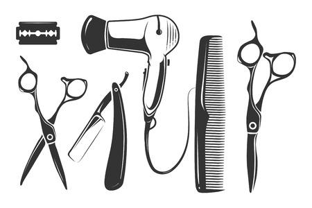 éléments boutique de vecteur de coiffure pour logo, étiquettes et badges. Barber élément vintage, rasage barbier salon, logotype salon de coiffure, coiffeur étiquette illustration Logo