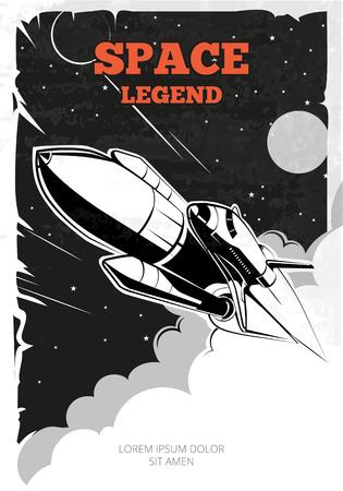Affiche vintage de vecteur spatial avec la navette. Vintage poster, navette ou fusée dans l'espace, rétro bannière, bateau de navette de lancement, la navette dans l'espace illustration