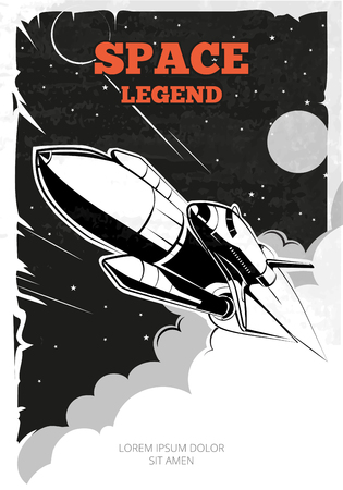 Vintage space vector poster with shuttle. Vintage poster, shuttle or rocket in space, retro banner, launch shuttle ship, shuttle in space illustration