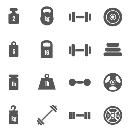 kilograms: Weight vector icons. Weight dumbbell, heavy weight barbell, element weight illustration Illustration