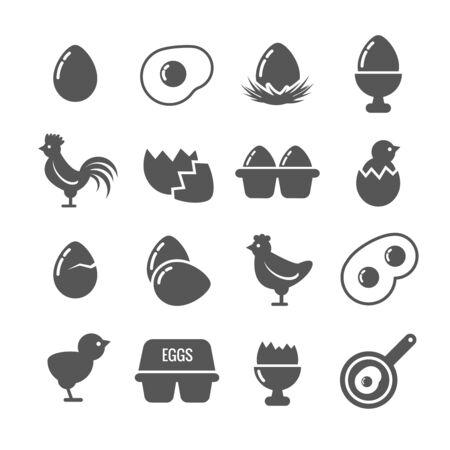 huevo blanco: Iconos del vector de huevo. huevo comida, desayuno de huevos, pollo, Huevo, ilustración cáscara de huevo