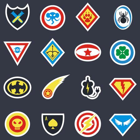 Superhero color vector badges, emblems,  . Superhero insignia, superhero protection, shield superhero, badge hero power illustration 일러스트