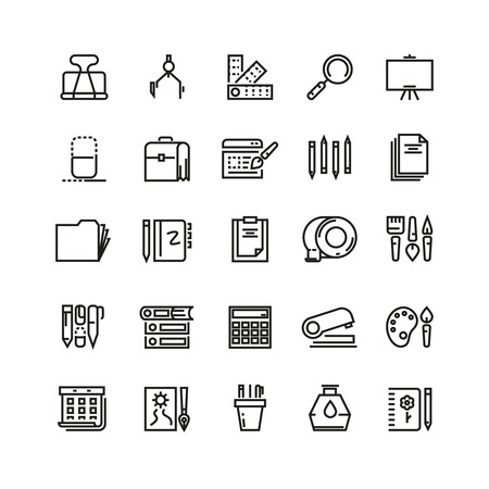 office tool: Office stationery, drawing and writing line vector icons. Stationery tool icon, pencil and pen stationery, icon drawing stationery, brush instrument illustration