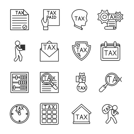 document icon: Line tax icons. Tax money, finance tax business, document tax. Vector illustration Illustration