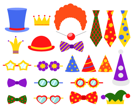 flat nose: Circus photo booth vector set. Booth mask, birthday element booth, glass and costume, masquerade booth illustration Illustration