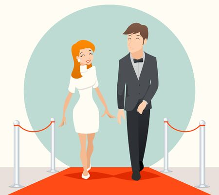 Celebrities couple walking on a red carpet. Couple on red carpet, people marriage, two actor on red carpet, wedding on red carpet. Vector illustration