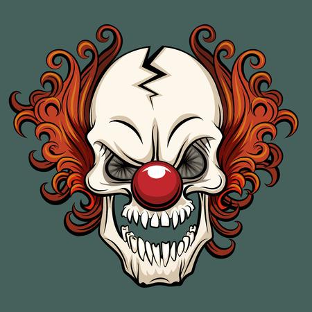Vector evil clown. Clown scary, halloween clown monster, joker clown character illustration