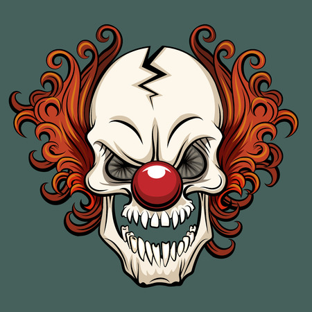 creepy monster: Vector evil clown. Clown scary, halloween clown monster, joker clown character illustration