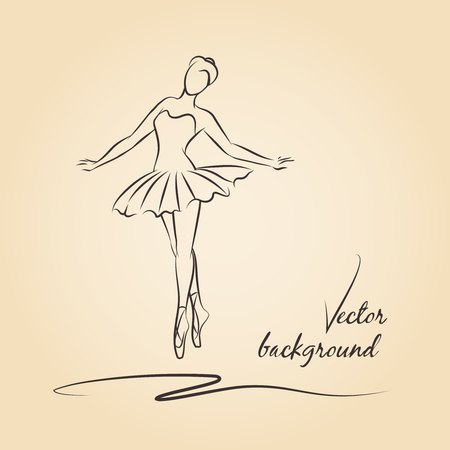 Sketched vector ballerina. Performance girl ballerina, ballet and ballerina drawing, beautiful dancer ballerina illustration