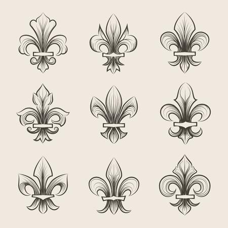 lis: Engraving fleur de lis icons set. Antique decoration fleur de lis, medieval heraldic fleur de lis, french fleur de lis. Vector illustration Illustration