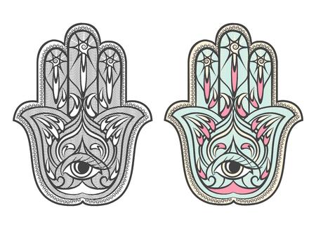 talismán: Hamsa, establece Fátima Amuleto de la mano símbolo del vector. hamsa ojo, hamsa amuleto, hamsa talismán, mano de Fátima ilustración