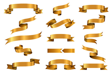 Gold glossy ribbon vector banners set. Ribbon label gold glossy, ribbon curled tag, waving ribbon gold glossy illustration Vectores