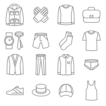 bag icon: Mens clothes vector line icons set. Fashion clothes, icon man clothes, shoe and jacket clothes illustration