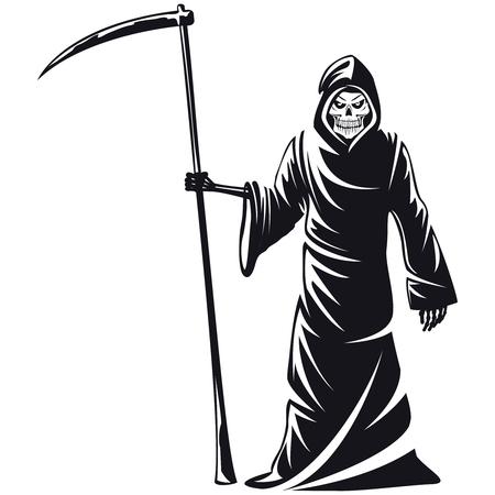 Death sign vector. Death horror, evil scythe death, ghost death  skeleton illustration Ilustração