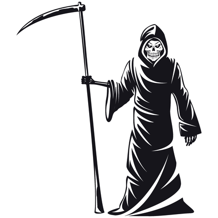 Death sign vector. Death horror, evil scythe death, ghost death  skeleton illustration Vettoriali