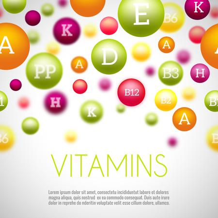 Vitamins and minerals background. Vitamin mineral, health mineral and vitamin, medical group vitamins, science natural minerals. Vector illustration