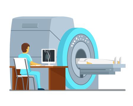 MRI 검사 및 진단. 보건 의료 벡터 개념입니다. 진단 MRI 환자, 병원의 MRI 스캔 MRI 기술. 벡터 일러스트 레이 션 일러스트