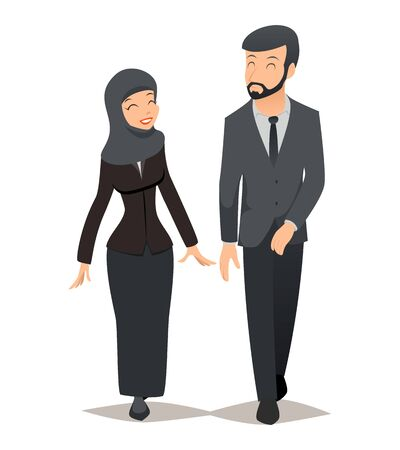 headcloth: Businessman and businesswoman in traditional Muslim hijab. Business team vector concept. Arab businessman, businesswoman arabian, businessman arabic, saudi businessman and businesswoman illustration Illustration