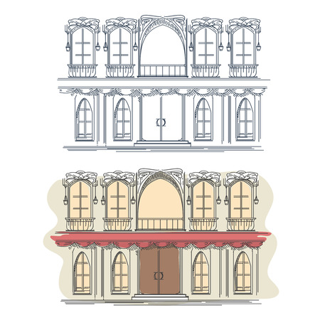 house front: Front of the house in french retro style. Architecture house front building facade front, french house front, street house front. Vector illustration