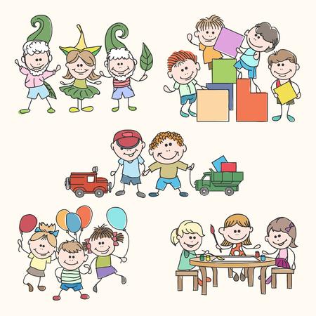 kinder garden: Childrens in kinder garden hand drawn vector. Children garden, happy children, fun children illustration