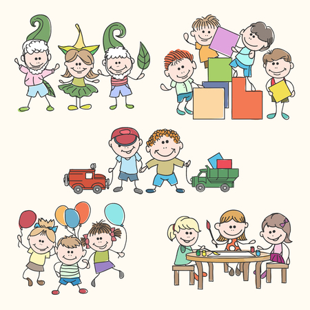 jardin de infantes: Ni�os en la mano m�s amable jard�n dibujan vectorial. jard�n de ni�os, ni�os felices, ni�os de la diversi�n ilustraci�n