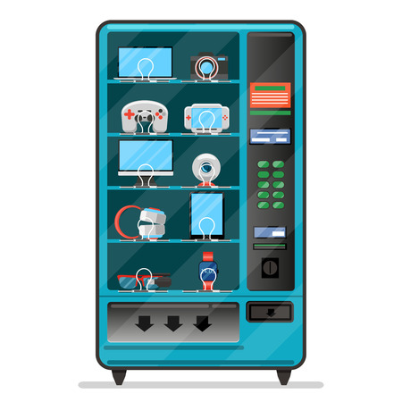 vending: Vector vending machine with electronic devices, gadgets. Machine vending, service automatic vending, merchandise vending machine illustration