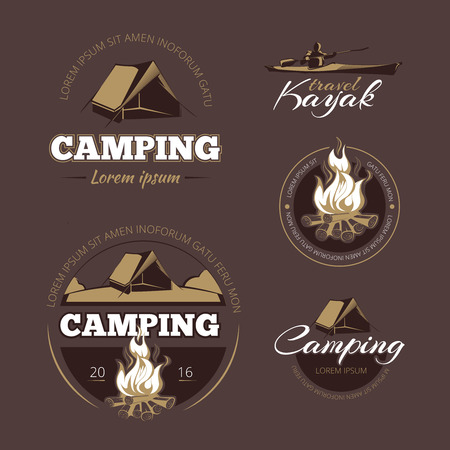 Vintage outdoor adventure and camping vector color labels set.  Label outdoor camping, vintage camping, logo adventure camping illustration