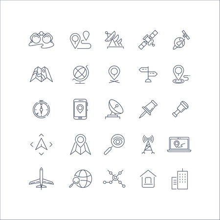 geolocation: Geolocation, global positioning system and navigation line vector icons set. Global navigation icon, gps navigation, travel navigation pin, technology navigation illustration