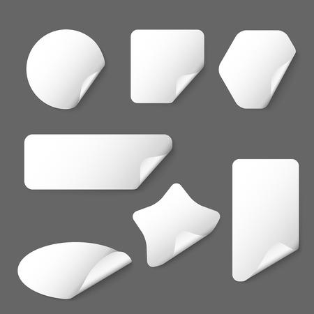 white sticker: White vector paper stickers on grey background. White sticker, paper sticker, label shape sticker illustration