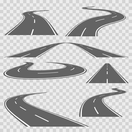 direction of: Winding curved road or highway with markings. Direction road, curve road, highway road, road transportation illustration. Vector set