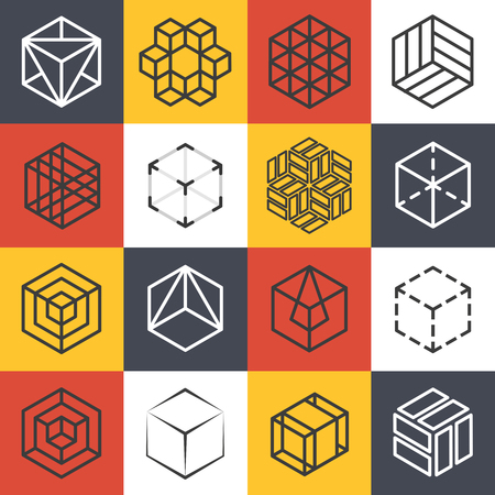 Architecture and interior studios or construction company line templates with 3D isometric cubes. company cube, symbol cube company, line cube emblem, isometric cube vector illustration