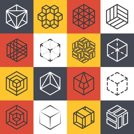Architectuur en interieur studio's of bouwbedrijf lijn sjablonen met 3D isometrische kubussen. bedrijf kubus, symbool kubus bedrijf, lijn kubus embleem, isometrische kubus vector illustratie