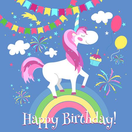Tarjeta del feliz cumpleaños con el unicornio lindo. Modelo del vector. Tarjeta de cumpleaños del unicornio, unicornio feliz en el arco iris, fantasía cuento ilustración unicornio