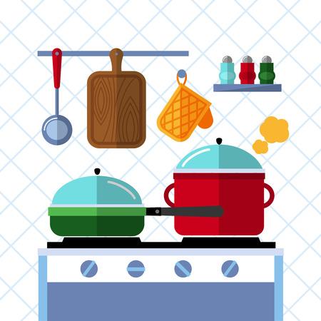 manejar: Ollas y sartenes en una estufa, la cocina de la cocina del vector plana del fondo del concepto. Olla y cocina sartén, olla y sartén, cena en la sartén, olla de la ilustración nacional