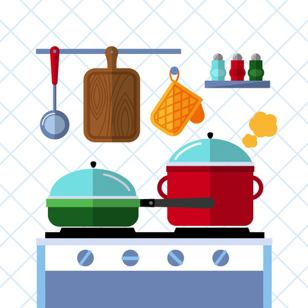 handles: Pots and pans on a stove, Kitchen cooking flat vector concept background. Pot and pan kitchen, cooking pot and pan, dinner in pan, domestic pot illustration Illustration