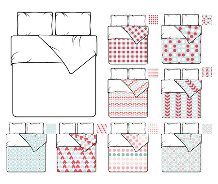 bedding: Bedding and linen vector template and sample patterns set. Pattern decoration bedding, decor seamless fabric bedding, textile bedding bedroom illustration