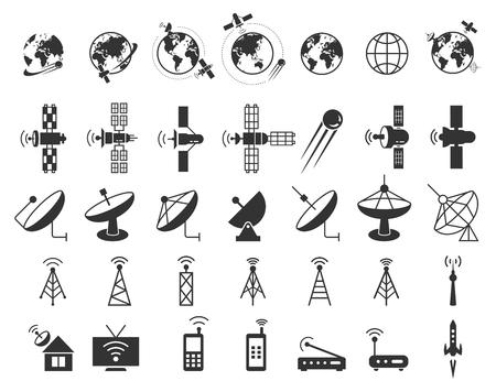iconos del vector de satélite. La comunicación por satélite, satélite inalámbrica, la tecnología de satélites de conexión, Internet ilustración señal de satélite Ilustración de vector
